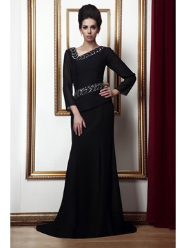 Graceful V-Neck Beaded Long-Sleeves Court Train Taline's Mother of the Bride Dress