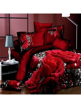 Sweet Red Rose Print 4-Piece Cotton Bedding Sets
