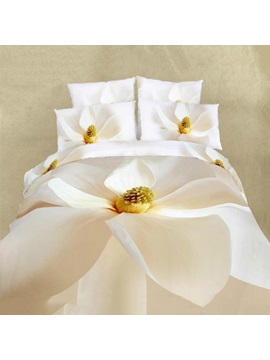 Pure Blooming White Flower Printed 100% Cotton 4-Piece Bedding Sets