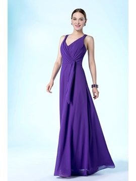 New Simple Style V-Neckline Floor Length A-Line Mother of the Bride Dress & Free Shipping Sale under 100