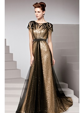 Charming Sequins Court Train Short Sleeves Floor-Length Evening Dress & Free Shipping Sale under 500