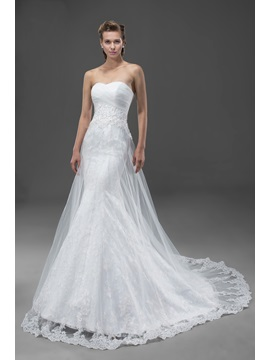 High-Quality Appliques&Sequins Court Train Zipper-up Sweetheart Wedding Dress & Free Shipping Sale under 500