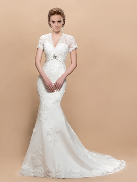 Stylish V-neck Short Sleeves Appliques Trumpet Court Train Wedding Dress & cheap Free Shipping Sale