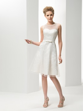 Simple Style Jewel Neck A-Line Knee-Length Wedding Dress & Free Shipping Sale from china