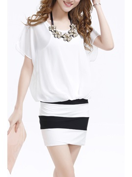 Best Bat Sleeve Slim Sheath Chiffon Dress