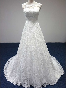Simple Style Scoop Neck A-Line Floor Length Lace Wedding Dress & informal Free Shipping Sale