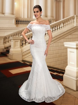 Dazzling Off the Shoulder Sequin Beaded Mermaid Lace Wedding Dress & fashion Free Shipping Sale