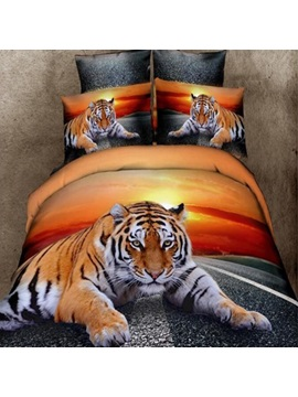 Classy Lying Tiger Print 4-Piece 3D Duvet Cover Sets