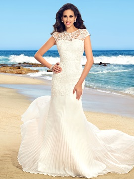 Dazzling Beaded Lace Jewel Neck Ruched Mermaid Wedding dress & Free Shipping Sale under 500