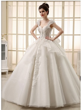 Luxury Rhinestone Cap Sleeve Lace Appliques Floor Length Princess Wedding Dress & Free Shipping Sale under 300