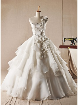 Dazzling Floor Length A-Line One Shoulder Organza Wedding Dress & Free Shipping Sale under 100