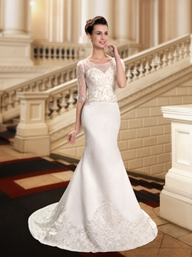 Beaded Sheer Scoop Neck Embroidered Mermaid Wedding Dress with Sleeves & Free Shipping Sale under 300