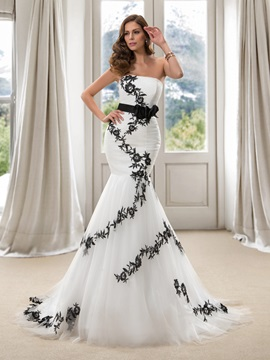 Trendy Strapless Lace Appliques Mermaid Wedding Dress & inexpensive Free Shipping Sale