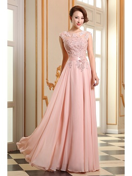 Eye-catching Scoop Neck Appliques Lace-up Long Prom Dress & petite Free Shipping Sale