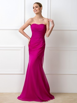 Simple Style Strapless Sweetheart Mermaid Long Bridesmaid Dress & Free Shipping Sale under 500