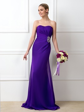 Eye-catching Ruched Beaded Sweetheart Purple Long Bridesmaid Dress & formal Free Shipping Sale
