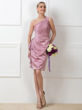 Ruched One-Shoulder Sheath Short Bridemaid Dress & romantic Free Shipping Sale