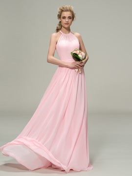 Ruched Halter A-Line Zipper-Up Bridesmaid Dress & Free Shipping Sale for less