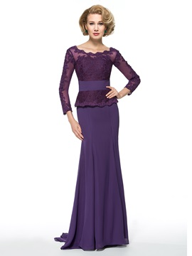 Scoop Neckline Long Sleeve Appliques Trumpet/Mermaid Mother of the Bride Dress & Free Shipping Sale under 500