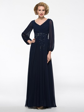Floor Length V-Neck Long Sleeve Mother of the Bride Dress & quality Free Shipping Sale