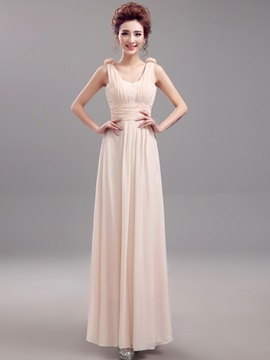 Floor Length A-Line Floral Straps Long Bridesmaid Dress & amazing Free Shipping Sale