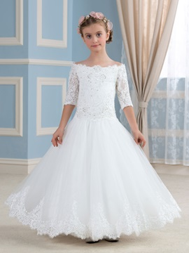 Elegant Scalloped Off The Shoulder Half Sleeve Flower Girl Dress & Free Shipping Sale online