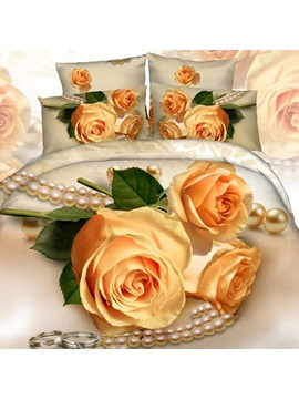 Yellow Rose Image 4 Piece Bedding Sets