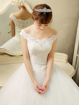 Scalloped Lace Top Off the Shoulder Ball Gown Wedding Dress & colored Free Shipping Sale