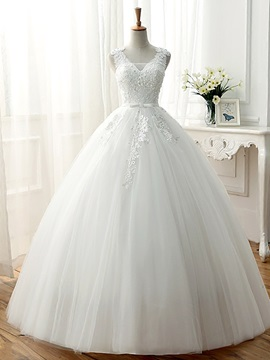Beaded Lace V-Neck Ball Gown Wedding Dress & Free Shipping Sale 2012