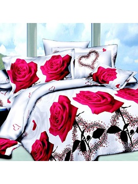 Romantic Red Rose Printed 4 Piece Bedding Sets