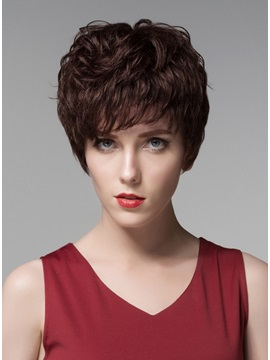 Mishair® Short Wavy Human Hair Capless Wig 6 Inches