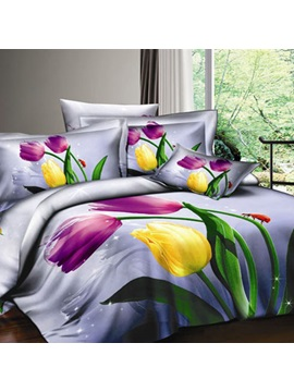 Purple 4 Piece Cotton Bedding Sets with colorful Tulips