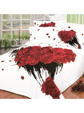 Fantastic Bunch Rose Printed Forever Love 4 Pieces 100% Cotton Bedding Sets