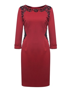 Ladylike Column Scoop Neck 3/4-Length Sleeves Beaded Party Dress