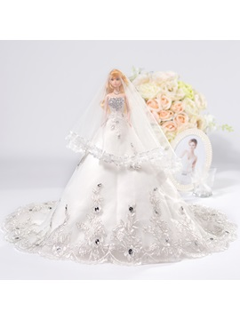 Beaded Lace Court Train Wedding Barbie Doll with Veil