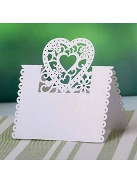 Heart shape design Pearl Paper Place Cards (set of 10)