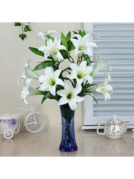 Fine Simulation Flowers Set Series Desktop Decoration Potted White Greenish Lily Flower