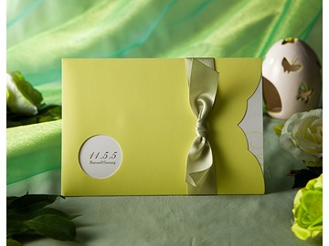 Classic Style Green Wrap & Pocket Invitation Cards With Ribbons (20 Pieces One Set)