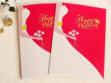 Red and White Fold Type Wedding Invitations (20 Pieces One Set)