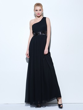 One Shoulder Pleats Sequins Black Evening Dress & Under $100 from china