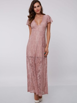 V-Neck Short Sleeves Ankle-Length Lace Evening Dress & colored Under $100