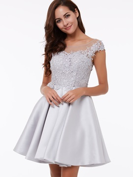 Sheer Neck Cap Sleeves Appliques Short Homecoming Dress & fairytale Under $100