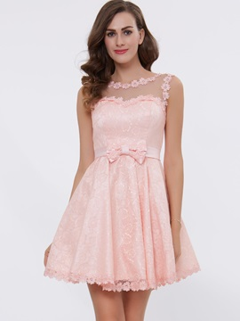 A-Line Straps Appliques Bowknot Lace-Up Short Homecoming Dress & elegant Under $100
