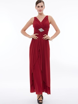 V-Neck Beading Ruched Ankle-Length Evening Dress & Under $100 for less
