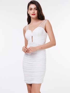 Straps Ruched Hollow Sheath Cocktail Dress & Under $100 on sale