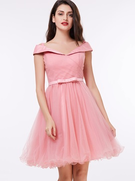 Pretty Off the Shoulder Pleats Bowknot Homecoming Dress & Under $100 on sale