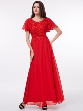 Short Sleeves Sequins Beading Lace Evening Dress & discount Under $100