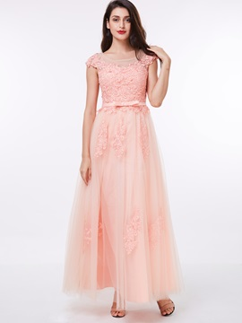 Sheer Neck Cap Sleeves Appliuqes Bowknot Prom Dress & Under $100 from china