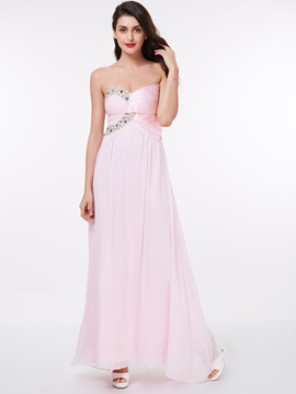 A-Line Sweetheart Beading Chiffon Long Prom Dress & Under $100 for sale