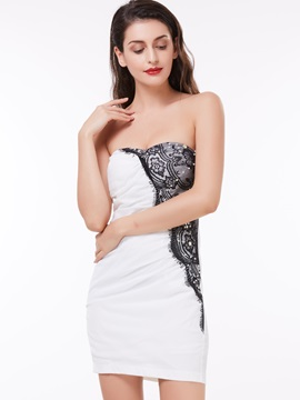 Sweetheart Lace Pearls Sheath Cocktail Dress & elegant Under $100